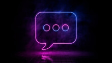 Pink And Blue Neon Light Sms Icon. Vibrant Colored Text Technology Symbol, Isolated On A Black Background. 3D Render