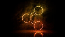 Orange And Yellow Neon Light Share Icon. Vibrant Colored Technology Symbol, Isolated On A Black Background. 3D Render