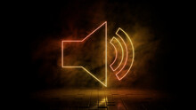 Orange And Yellow Neon Light Audio Icon. Vibrant Colored Technology Symbol, Isolated On A Black Background. 3D Render