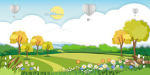 Vector Illustration.Paper Cut Style Of Field Landscape In Summer Time, Paper Art Spring Landscape With Blue Sky And Hot Air Balloons Heart Flying, Panorama Flat Cartoon For Eco Environmental Backgroud