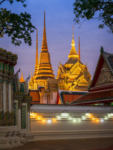 Wat Pho Is A Beautiful Famous Temple In Bangkok, Thailand. The Big Sleeping Buddha Inside Is One Of The Tourist Destination.