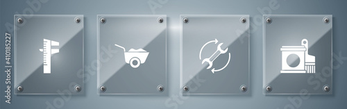 Set Paint bucket and brush, Wrench arrows as workflow, Wheelbarrow and Calliper caliper scale Wallpaper Mural