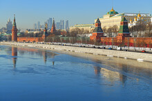 Freezing Moscow River And Moscow Kremlin In Winter In Severe Frost