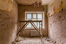 Dismantling In The Old Apartment Before New Renovation, Construction Concept