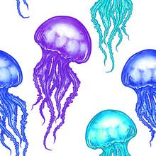 Hand Drawn Jellyfish Seamless Pattern Background Illustration