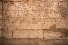 Ancient Egyptian Hieroglyphs On A Wall In The Karnak Temple Of Luxor