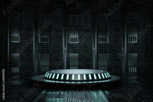 High-tech product podium platform studio in spaceship with electric wire lamp and engine background Fototapete