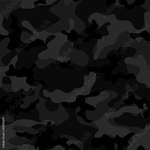 Billede på lærred Camouflage black vector trendy pattern seamless design