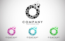 O Letter Logo Set With Dispersion Effect And Dots, Bubbles, Circles. O Dotted Letter In Black, Purple, Blue And Green Gradient Vector Illustration.