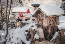 Bird Houses Covered With A Fresh Layer Of Snow For A Picturesque Winter Scene In Nelson, B.C. Canada.