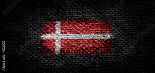 Wallpaper Mural National flag of the Denmark on dark fabric