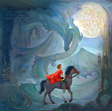 The Lord Of The Dragon. Oil Painting On Canvas. Medieval Warrior Riding On A Horse In The Fantasy Celtic Environment. Illustration For An Old Legend.