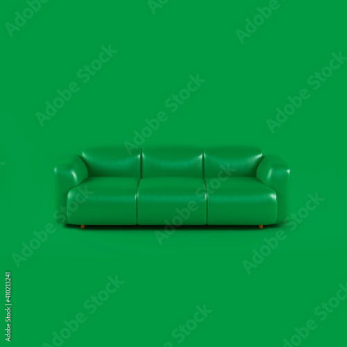 Green leather soft sofa on green background with shadow. Stylish cozy modern sofa made of genuine leather on wooden legs. Minimalistic interior room in green colors. Single piece of furniture © olgaarkhipenko