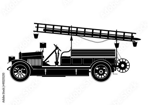 Obraz na plátne Vintage fire engine silhouette. Side view. Flat vector.