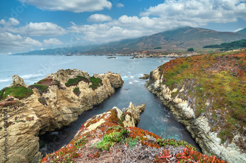 California nature - landscape, beautiful cove with rocks on the seaside in Garrapata State Park Wallpaper Mural