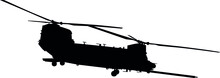 CH-47 Chinook Twin-engine Transport Helicopter With Tandem Rotor Arrangement. Ch 47 Chinook Heavy Lift Helicopter Isolated Realistic Silhouette