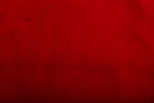 Texture Of Red Fleece Straight Fabric, Background Or Backdrop. Clothing, Sewing, Gressmaking, Haberdashery. Copy Space.