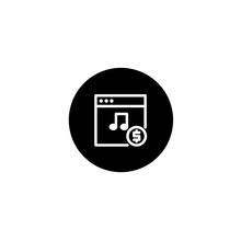 Music Monetization Icon In Black Round Style. Vector Icon Pixel Perfect