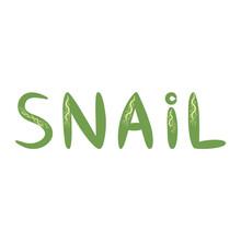 Pink Lettering Snail Scandinavian Style, Hand Drawn