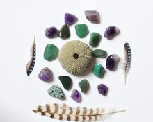 Flatlay Still Life With Green And Purple Gemstones, Sea Urchin And Feathers Against A White Background