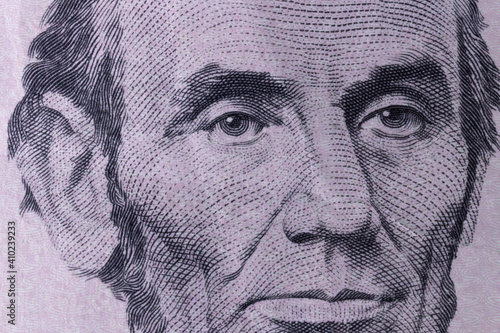 Fotografie, Obraz President Abraham Lincoln on the obverse of a five dollar bill for background