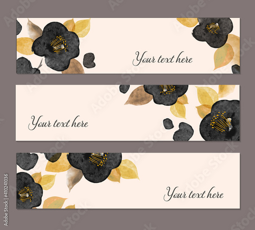 Slika na platnu Three banners with black japanese camelia flowers with place for your text