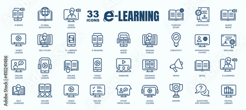 Photo Simple Set of E-Learning, Online Course and Education Related Vector Line Icons