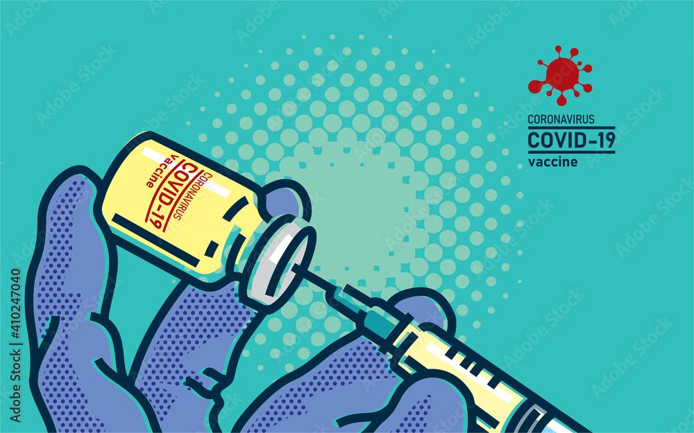 Fototapeta Coronavirus COVID-19 vaccine. Doctor in medical gloves holding corona virus vaccine and syringe