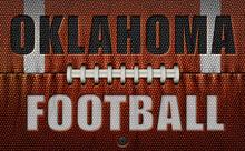 Oklahoma Football Text On A Flattened Football