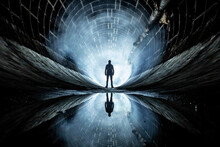 Man Stands In A Tunnel Against The Light At The End Of The Tunne