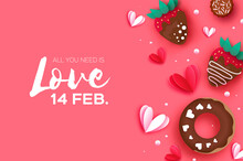 Valentine Day Background Greeting Card 14 February Sale Happy Heart Romantic Love Design Template With Gift Box Poster Banner Sale.