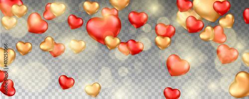 Cuadros en Lienzo Romantic background with falling hearts