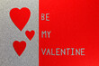 canvas print picture - Be My Valentine Red Hearts On Silver And Red