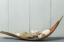 Decorative Interior Composition With Shells And Stones On A Wooden Stand