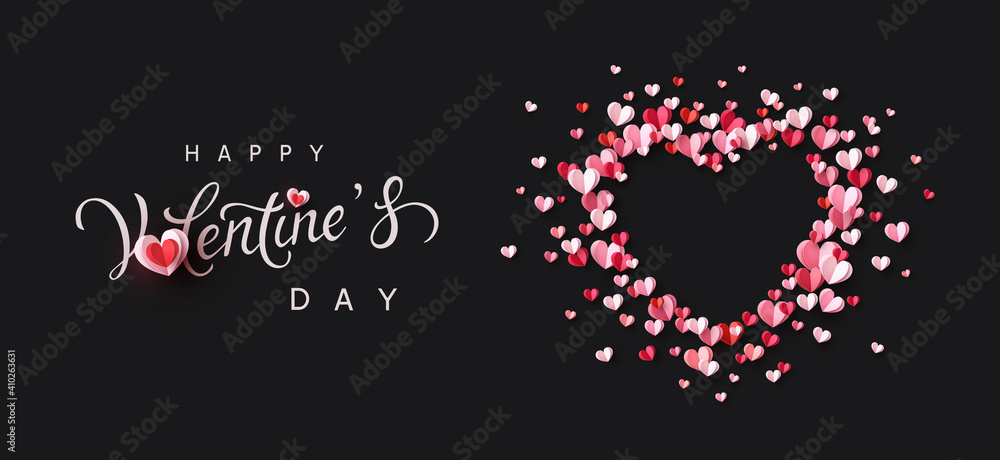Fototapeta Valentine's Day greeting card with pink and red paper confetti hearts on black background. Vector symbols of love frame poster or romantic banner