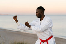 Adult Man Practicing Martial Arts On Sandy Coastal Beach