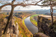 Germany, Saxony, Rathen, View Of Landscape With Elbe River
