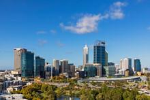 Australia,Western Australia, Perth, John Oldham Park And Downtown Skyscrapers