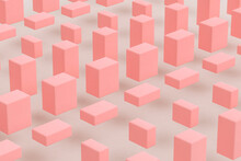 Three Dimensional Render Of Pink Cuboids Floating Against Gray Background