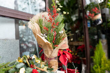 Floral Christmas Decorations Outside Flower Shop