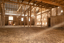 Empty Old Wood Barn Inside Sunbeams Light Rays Boards Dusty