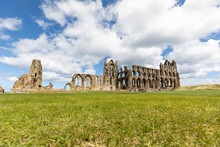 Whitby Abbey On Grassy Landscape Against Cloudy Sky During Sunny Day, Yorkshire, UK