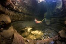 Teenage Girl Snorkeling In Taugl River, Austria