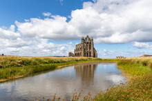 Whitby Abbey Against Cloudy Sky During Sunny Day, Yorkshire, UK