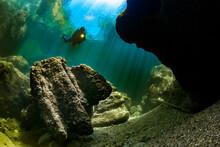 Teenage Girl Scuba Diving InTraunriver