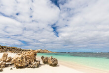 Eroded Rocks On Tropical Beach