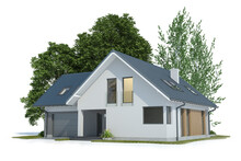 House And Trees Isolated On White, 3d Illustration