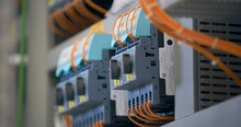 Electrical Panel With Many Wires, Electrical Parts, Automatic Switches, Breakers, Residual Current Devices, Fuses, Terminals