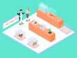 Pet shelter isometric 3d vector concept for banner, website, illustration, landing page, flyer, etc.