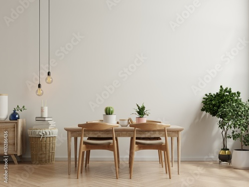 Modern dining room interior design with beige empty walls.